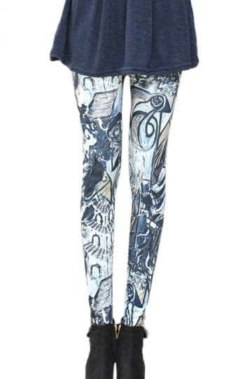 Gray Retro Abstract Doodle Printed Ladies Leggings