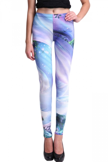 Blue Cool Ladies Alice in Wonderland Printed Designer Leggings