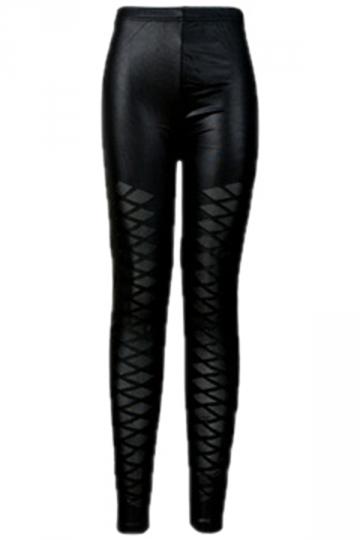 Black Cool Ladies Mesh Patchwork Argyle Leather Leggings
