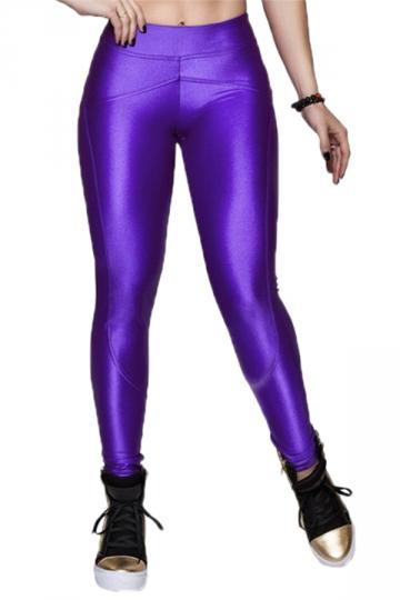 Purple Elegant Ladies Plain Fit Liquid Leggings