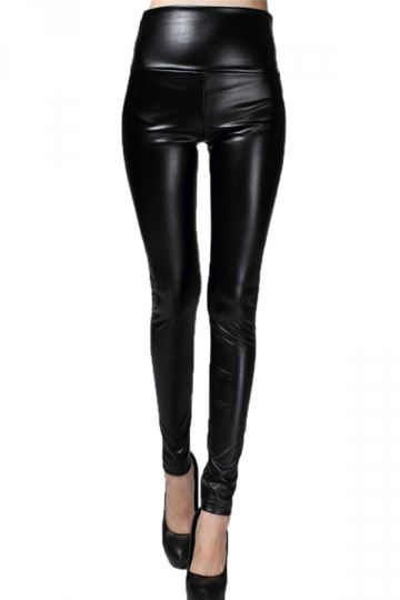 Black Elegant Womens Plain High Waisted Liquid Leather Leggings