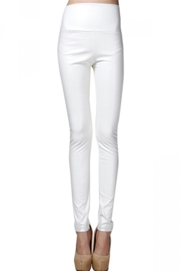 White Elegant Womens Plain High Waisted Liquid Leather Leggings ...