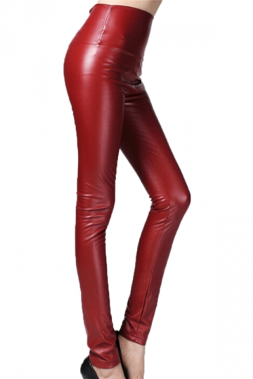 Ruby Elegant Womens Plain High Waisted Liquid Leather Leggings