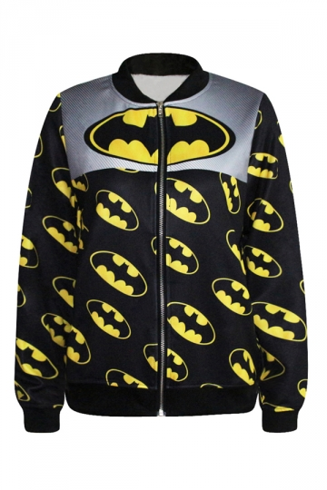 Black Sexy Ladies Long Sleeve Batman Printed Jacket