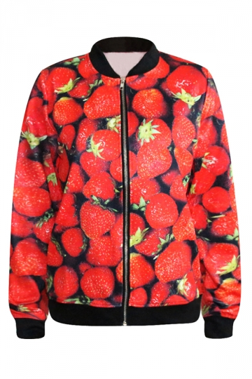 Red Chic Womens Strawberry Printed Long Sleeve Jacket
