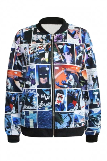 Black Trendy Ladies Batman The Joker Printed Crew Neck Jacket