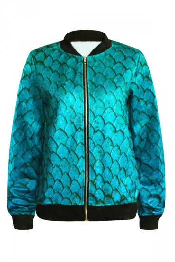Turquoise Sexy Womens Mermaid Scale Printed Long Sleeve Jacket