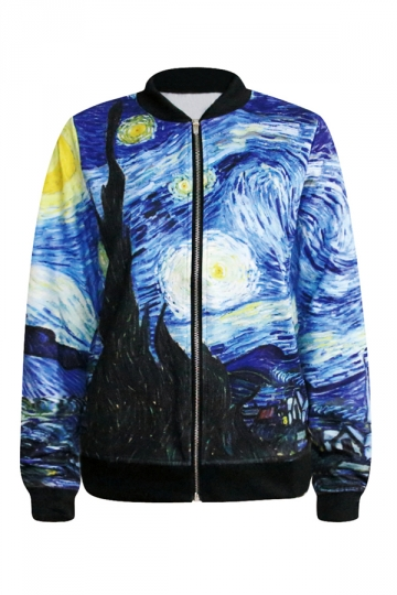 Blue Pretty Ladies Vincent Van Gogh Oil Painting Printed Jacket