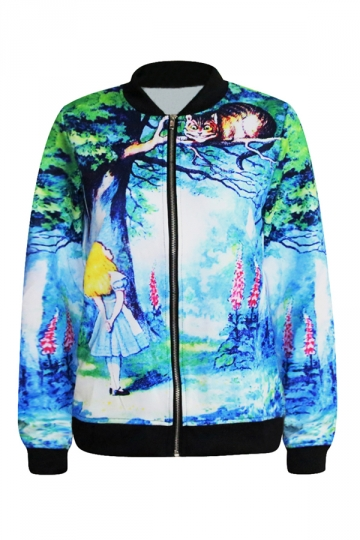 Blue Cute Womens Alice And The Cheshire Cat Printed Jacket