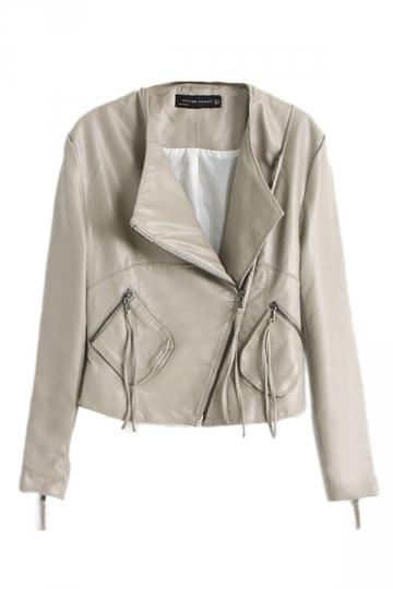 Beige Womens Fashion PU Leather Plain Inclined Zipper Blazer