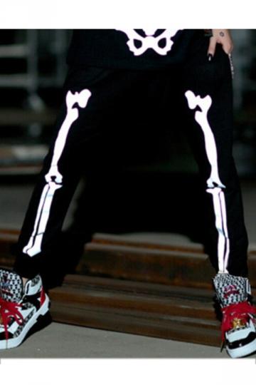 Black Modern Womens Skeleton Printed Harem Leisure Pants