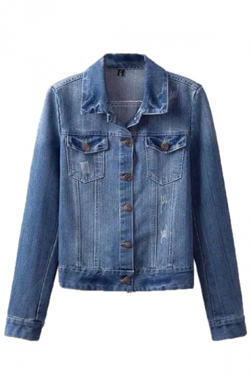 Blue Retro Ladies Slim Casual Jean Long Sleeves Denim Jacket