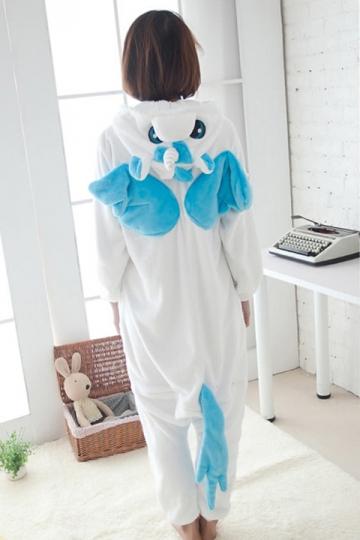 Blue Cute Ladies Unicorn Adult Flannel Pajamas Jumpsuit Costume