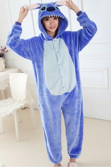 Womens Onesies Hooded Kigurumi Pajamas Stitch Costume Blue