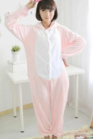 Pink Comfortable Womens Pig Flannel Pajamas Jumpsuit Costume ...