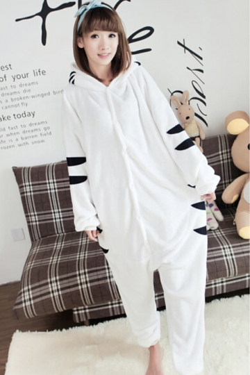 White Cute Womens Tiger Comfortable Flannel Pajamas Jumpsuit ...