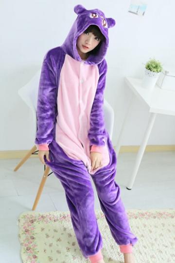 Purple Cute Ladies Cat Flannel Pajamas Jumpsuit Costume