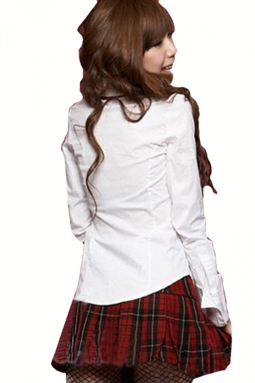 Girls Chic Ladies Cosplay Halloween Tie School Costume White