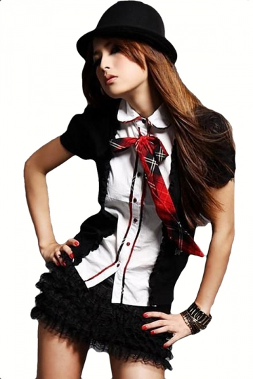 Black Chic Womens Halloween Cosplay Short Sleeve School Girl Costume