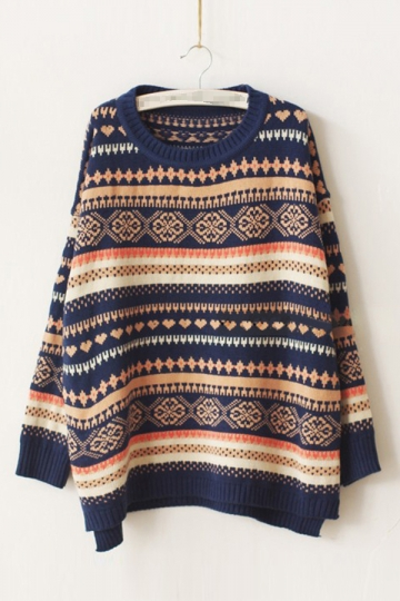 Crew Neck Long Sleeve Strip Patterned Pullover Christmas Sweater