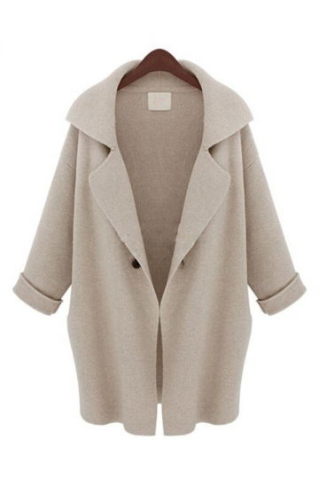 Beige Elegant Ladies Long Sleeve Turndown Collar Plain Wool Coat