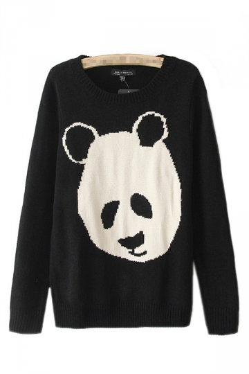 Black Cute Womens Crew Neck Long Sleeve Panda Patterned Pullover