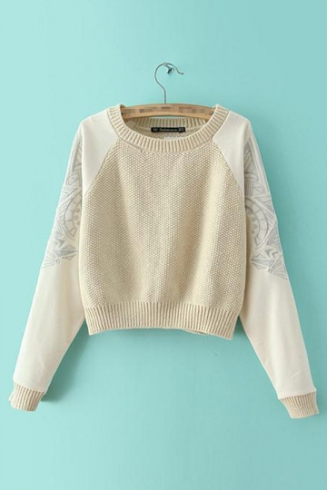 Beige Cool Ladies Crew Neck Long Sleeve Patterned Pullover Sweater