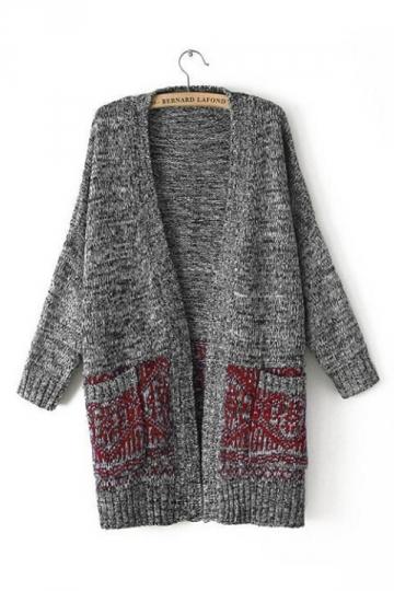 Red Elegant Ladies Long Sleeve V Neck Cardigan Sweater Coat