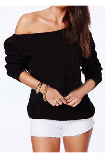 Black Sexy Womens Off Shoulder Classic Plain Pullover Sweater