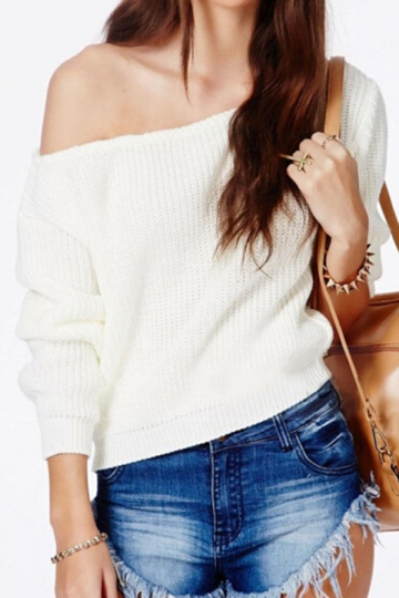 White Sexy Womens Off Shoulder Classic Plain Pullover Sweater ...