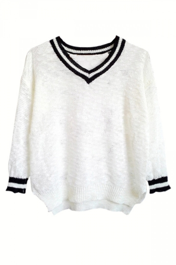 White V Neck Womens Loose Vintage Patterned Pullover Sweater