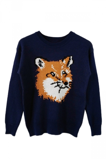 Navy Blue Womens Fox Patterned Long Sleeves Crew Neck Pullover Sweater