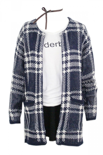 Navy Blue Elegant Womens Plaid Long Sleeve Cardigan Sweater Coat