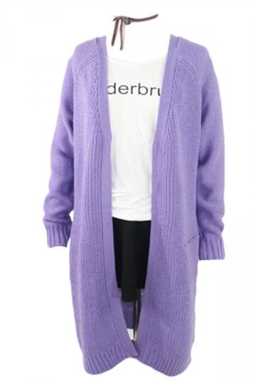 Purple Elegant Womens Long Sleeve Plain Cardigan Sweater ... - photo#35