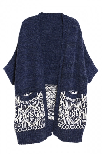 Navy Blue Loose Vintage Ladies Oversized Knit Cardigan Sweater