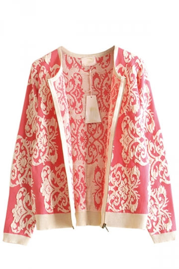 Pink Chic Ladies Peace Dove Long Sleeve Patterned Cardigan Sweater ...
