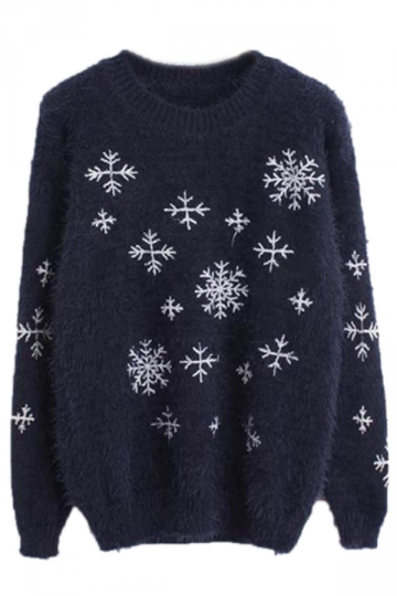Navy Blue Cool Ladies Snowflake Crew Neck Pullover Christmas ...