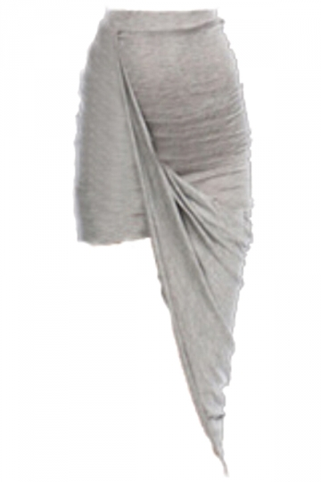 Gray Elegant Womens Plain Irregular Hem Pencil Skirt