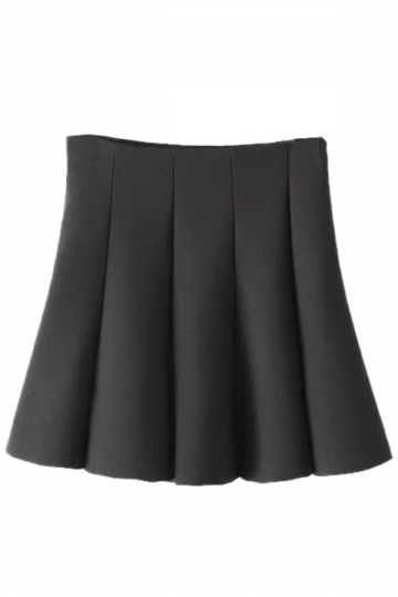 Black Elegant Womens Comfortable Pleated Ruffle Plain Pleated Skirt