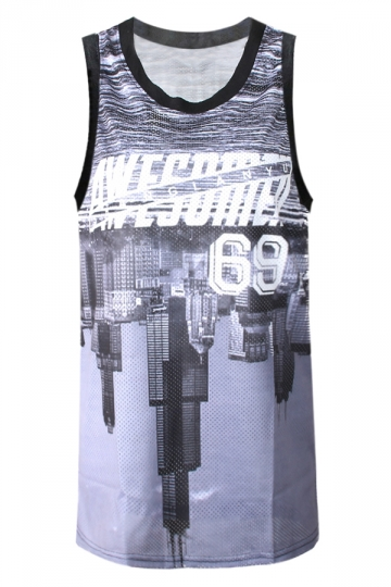 Gray Womens Buildings Upside Down 3D Basketball Tank Top