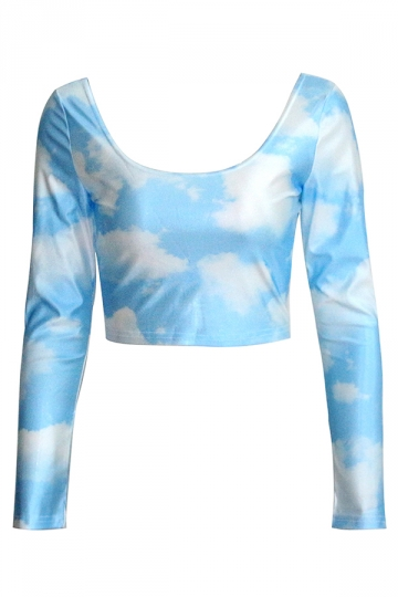 Blue Womens Cute Clouds Fancy Long Sleeves Crop Top