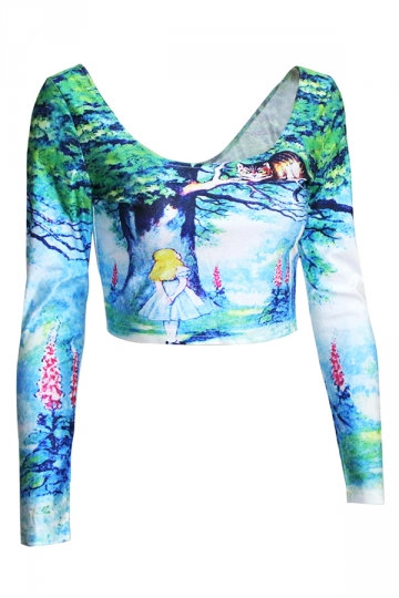 Turquoise Womens Alice in Wonderland Printed Fancy Crop Top