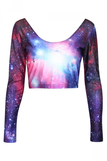 Purple Classic Womens Galaxy Long Sleeves Crop Top