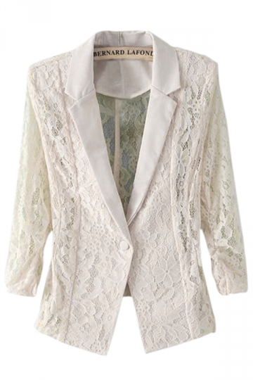 Beige White Womens Fashion Shoulder Pad Hollow out Lace Blazer