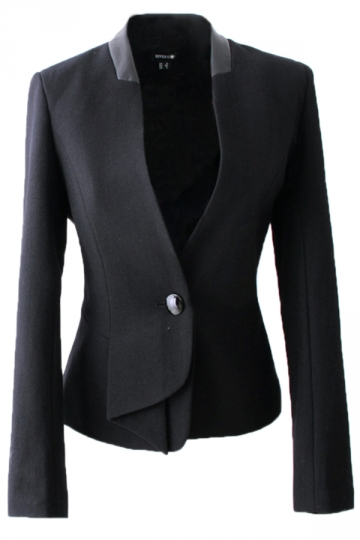 Black Womens Fashion Cotton Blended Patchwork PU Short Blazer
