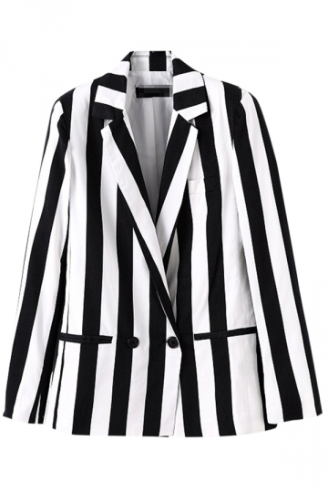 Black and White Classic Stripes Ladies Chic Loose Blazer
