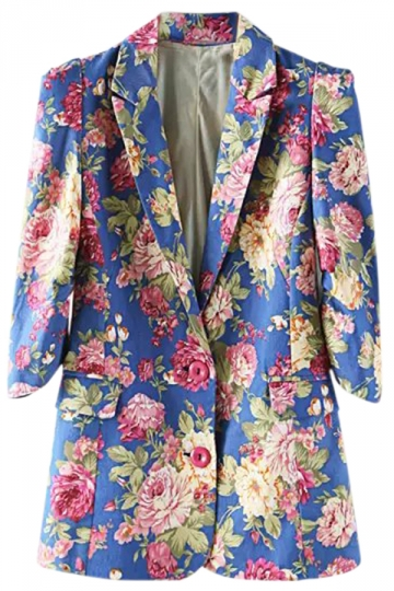 Blue Ladies Vintage Flowers Long Sleeves Lapel Blazer
