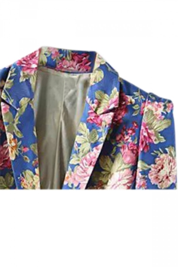 Blue Ladies Vintage Flowers Long Sleeves Lapel Blazer