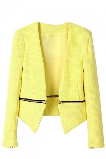 Yellow Chic Womens Woven Sleeve Patchwork Detachable Bottom Blazer
