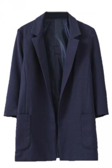 Navy Blue Womens Fashion Three Quarter Sleeve Blazer